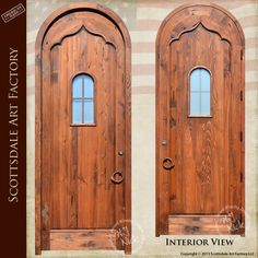 Arched top solid wood door, 3 inch thick solid wood door with portal window, hand carved arch design, and hand forged wrought iron door hardware.