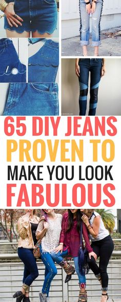 DIY Jeans Refashion projects that are really amazing! -  Includes 65 ways to recycle jeans as well as create awesome new things. Check it out to find out how you've been letting you old jeans go to waste!
