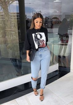 graphic t shirt outfit with heels Cute Casual Outfits, Outfits For Teens, Stylish Outfits, Fall Outfits, Summer Outfits, Look Fashion, Girl Fashion, Fashion Outfits, Swag Fashion