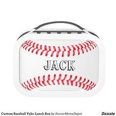 Custom Baseball Yubo Lunch Box! Type in your own text - player name, team name, jersey number, whatever - to customize it! #baseball