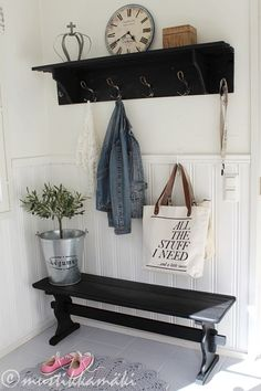 Black and white entryway with just a bit of a rustic, summer cottage feel. White Cottage, Cottage Style, My Home Design, House Design, Scandinavian Interior Design, Cottage Interiors, My Dream Home, Home Projects, Interior Inspiration