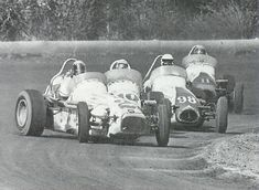 In 1968 the USAC Champ Dirt Cars made their annual trek to Sacramento, CA. In this Jim Chini shot scanned from the 1989 Golden State 100 program, Mario Andretti leads Bud Tingelstad, Bill Vuckovich, and Gary Bettenhausen. The race was won by A.J. Foyt who pocketed $8,300. Bettenhausen was runner-up, Al Unser was third, Andretti fourth, and Bruce Walkup rounded out the top five. (Holtsman Family collection)