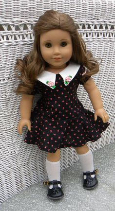18 American Girl Doll Pink and Black Floral Drop by DollyShortcake, $30.00, American Doll Clothes made by my friend Judy!