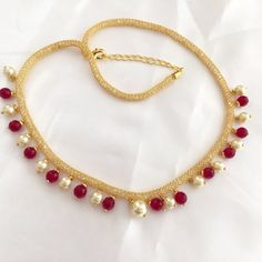 On Sale  Gold Mesh Chain with Ruby Colored Agate Beads by Alankaar