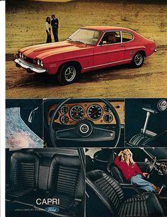 1973 Mercury Capri Red Sports Coupe-Original Magazine 2 Page Ad Volkswagen, Mercury Capri, Ford Classic Cars, Classic Auto, Ford Capri, Car Advertising, Us Cars, Ford Motor Company, Vintage Colors