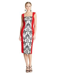 Ikat Jacquard and Double-Face Wool Pencil Dress