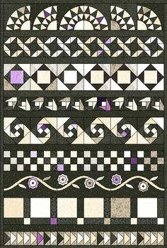 black and white row quilts | Multi fabric plus accent