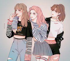 BTS Taehyung, Jimin, Jungkook as girls [fanart] 😂😍 Character Inspiration, Character Art, Character Design, Bts Meme, Fanart Bts, Art Et Design, Bts Girl, Bts Drawings, Bts Fans