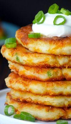 Cheesy Leftover Mashed Potato Pancakes #cheese #pancakes #leftovers