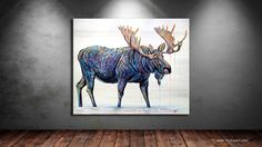 Moose Lake is a contemporary wildlife painting of colorful bull moose in water. Original painting is available to purchase on Aspen Grove Fine Art. Bull Moose, Moose Art, Wildlife Art, Wild Life, Park City, Contemporary Paintings, Aspen, Galleries, Bears