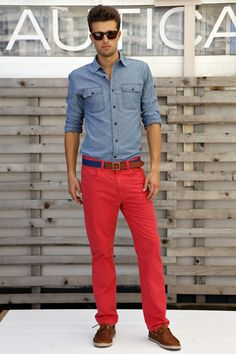 red pants, chambray shirt #men #style #fashion  Literally my favorite outfit ever.