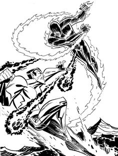 Human Torch vs Namor by Bruce Timm