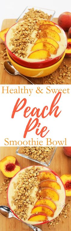 HEALTHY & SWEET PEACH PIE SMOOTHIE BOWL | For a deliciously healthy breakfast, blend up a thick and creamy smoothie bowl with the flavors of sweet peach pie. It's good for you too. Click through to get the recipe. Pin it now, you're going to want to make it again later. smoothie | recipe | healthy | breakfast | gluten free | vegetarian | vegan