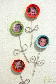 "Bottle Cap Flower Magnets-- Now here's My idea: instead of gluing magnets to the back, why not thumbtacks for the office/school/etc. cork board!? (Also, I figure the ""making process"" could be simplified.)"