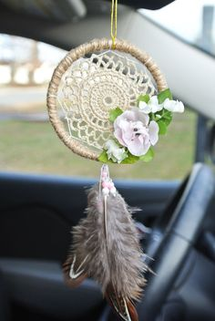 Excited to share this item from my shop: Bohemian Doiley Car Dreamcatcher: Boho Car Accessories for Women, Vintage Home Decor, Rear View Mirror Charm, Boho Dream Catcher car accessories diy Your place to buy and sell all things handmade Rear View Mirror Accessories, Car Accessories For Women, Bohemian Accessories, Truck Accessories, Accessories Jewellery, Dream Catcher For Car, Dream Catcher Boho, Dream Catchers, Lilly Pulitzer