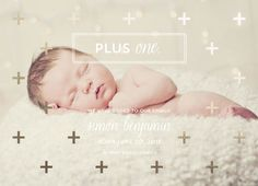 Plus One by Penelope Poppy #birthannouncement #minted #penelopepoppy #goldfoil