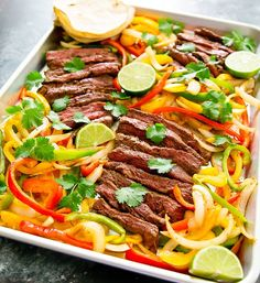 Sheet Pan Steak Fajitas is afun and easy dinner ready in less than an hour. Everything is cooked in the oven on one sheet pan. You can also swap steak for chicken or shrimp. I love fajitas but I rarely ever make them at home. It always seems like a lot of work. But it's …