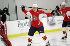 Florida Panthers draft choice R.J. Boyd stretches during warm-ups at the NHL team's development camp on July 12, 2011 at the Saveology.com Iceplex (Coral Springs, Florida)