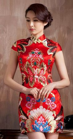 Red floral Chinese Qipao dress