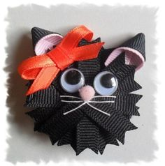 kitty ribbon sculpture hair clip inspiration by kelley.mccarroll