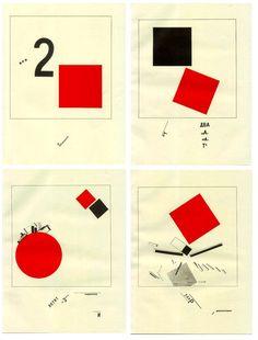 "technodon: ""The Story of Two Squares ロシア構成主義の先駆者、エル・リシツキーが1922年に発表した作品集 坂本龍一が1980年に発表した『B‐2UNIT』のジャケットはこの作品のパロディである。 Twitter: ソ連雑学Bot  USSR_BOT """