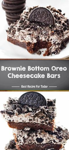 Brownie Bottom Oreo Cheesecake Bars - The ingredients and how to make it please visit the website. Oreo Brownie Cheesecake, Brownie Recipes, Cheesecake Recipes, Dessert Recipes, Cheesecake Cookies, Yummy Treats, Delicious Desserts, Sweet Treats, Granny's Recipe