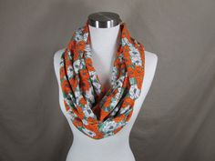 Infinity Scarf in Orange Green and White Floral Print Handmade Lightweight Scarf Spring Scarf Summer Scarves