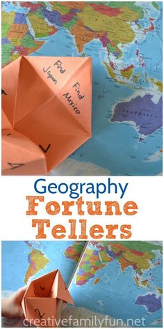 Fortune-Tellers Learn geography with this fun Fortune-Teller Activity from the book 100 Fun and Easy Learning Games for Kids.Learn geography with this fun Fortune-Teller Activity from the book 100 Fun and Easy Learning Games for Kids. Geography For Kids, Geography Activities, Geography Lessons, Teaching Geography, Social Studies Activities, World Geography, Teaching Social Studies, Activities For Kids, Geography Classroom