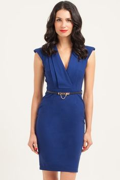 6daf7eefb37 Paper Dolls Royal Blue Power Shoulder Wrap Bodycon Dress