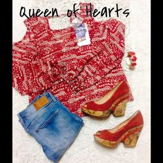 Red Hearts Shoulder Cut Out Blouse ️Cute long sleeve sheer blouse with cut out shoulders and keyhole back. Buttons at the wrist. Extra button included. Lightweight. New with tags, size small but can also fit a medium. Zumiez Tops Blouses