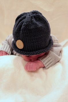 baby boy knitted hat with button $13
