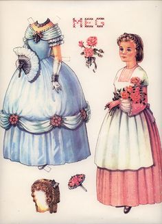 """Meg from """"Little Women"""" paper doll sweet! Two of my childhood favs- paper dollsa nd Little Women Two Girls, Little Girls, Paper Toys, Paper Crafts, Foam Crafts, Paper Art, Crochet Machine, Machine Embroidery, Images Vintage"""
