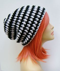 FREE SHIPPING - Supa Slouch Crochet Beanie Hat - Black and White Stripes 0d23ecab2c
