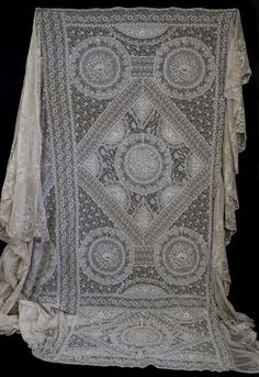 HOLY SMOKES!  This is all hand done.  Normandy mixed lace spread, mid 20th century.  see details:  http://www.vintagetextile.com/new_page_797.htm