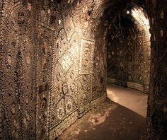 Margate's Shell Grotto, Kent Discovered in 1853 by a boy digging a duck pond, the origins of this maze of underground tunnels and chambers covered in 4.6 million shells remains a mystery. The shells come mainly from the UK, but some have washed up from as far afield as the Caribbean. Still no one knows how or why this amazing grotto was built.