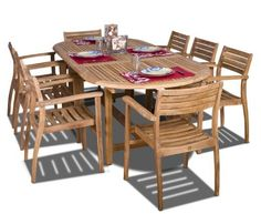 Amazonia Teak Coventry 9-Piece Teak Oval Dining Set by Amazonia Teak. $2227.54. Some assembly required. 1 oval extendable table 39w x 71/95d x 29h 8 stacking chairs 21w x 22d x 32h. Free feron's wood sealer/preservative for longest durability. Penetrating oil that works great against the effects of air pollution salt air, and mildew growth. For best protection, perform this maintenance every season or as often as desired. 9 individual pieces. Color: light brown....