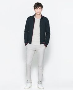 Image 1 of PIQUE JACKET WITH CONTRASTING PIPING from Zara