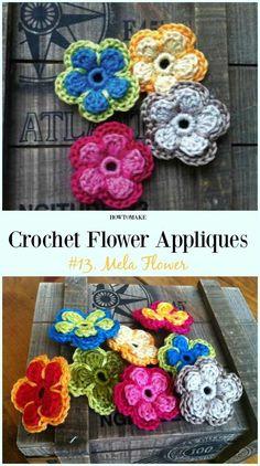 Mela Flower Free Crochet Pattern-Easy #Crochet #Flower Appliques Free Patterns