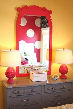 love the wall colors, mirror same shade as back wall, dresser a nice neutral, two lamps on each end of dresser, this whole room LOVE for a little girl!