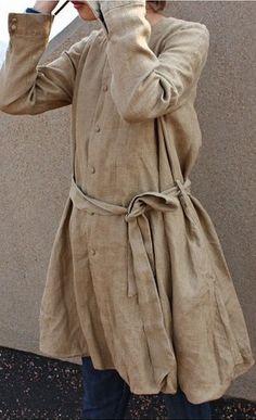 belted linen coat: