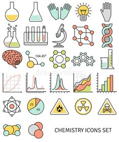 Flat line icons set of chemistry symbols and objects. Chemistry Drawing, Chemistry Tattoo, Chemistry Jokes, Chemistry Revision, Study Chemistry, Chemistry Gifts, Chemistry Classroom, Physical Chemistry, Chemistry Lessons