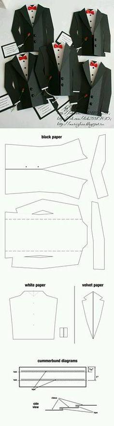 Origami: the art of folding paper - we learn by starting .- Gli Origami: l'arte di piegare la carta – impariamo partendo da qui Esmoquin. Tarjeta Día of the father: - Diy Paper, Paper Crafts, Karten Diy, Shaped Cards, Fathers Day Cards, Card Templates, Tie Template, Masculine Cards, Creative Cards