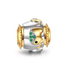 Ninaqueen 925 Sterling Silver Gold Plated Elephant Charms Green Cubic Zirconia Fit Pandora Bracelet