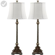 Safavieh Lighting Collection Rimini Console Antique Silver 33.5-inch Table Lamp (Set of 2) - Improve your home (*Amazon Partner-Link)