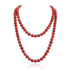 Jane Stone Red Fashion Jewelry Statement Round Beaded Collar Long Necklace for Women Fn1273Red *** Click on the image for additional details.