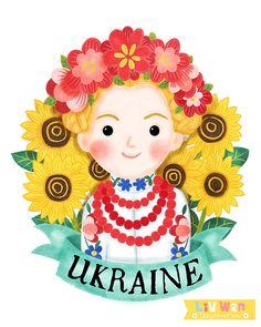 Small World Ellis Island Mug Illustrations - Liv Wan Illustration Ukraine Girls, Ellis Island, Small World, Girl Cartoon, Ua, Illustration Art, Christmas Ornaments, Holiday Decor, Drawings