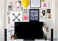 Living Room Gallery Wall Around TV #gallerywall #art