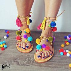 Modelo IBIZAen ordenestilo de sandalias boho pom por MrOsOutache 67€