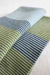 Scottish Gifts - Purl Stripe Small Blanket Green by Nicola - Knitwear