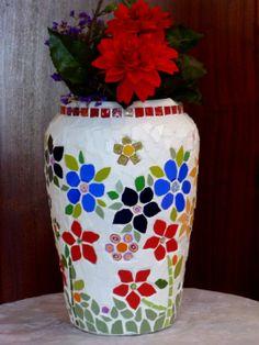 Tall mosaic flowers pot